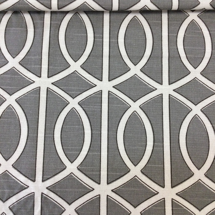 "5.3 Yard Piece of Home Decor Fabric | Modern Lattice Gray / White / Black by Robert Allen | Upholstery / Drapery | 54"" Wide"