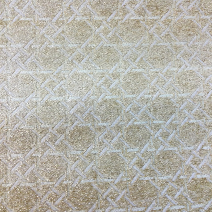 "3.55 Yard Piece of Upholstery Fabric | Beige Chenille Lattice | 54"" Wide"