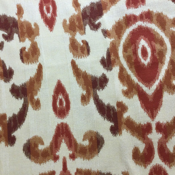 "4.3 Yard Piece of Upholstery Fabric | Ikat Red / Orange / Beige | 54"" Wide"