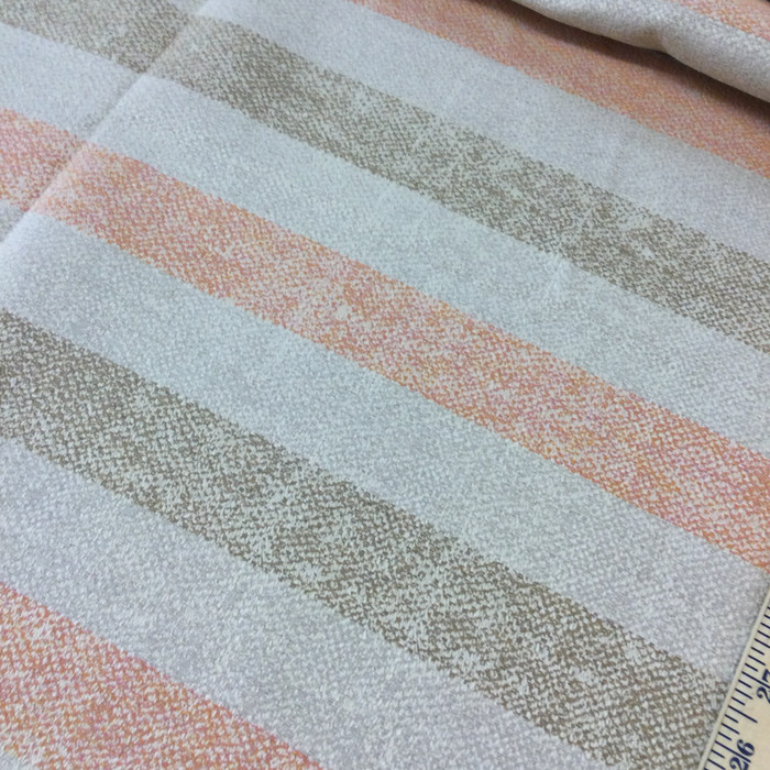 "4.3 Yard Piece of Upholstery Fabric | Stripes Orange / Off White / Tan | 54"" Wide6"