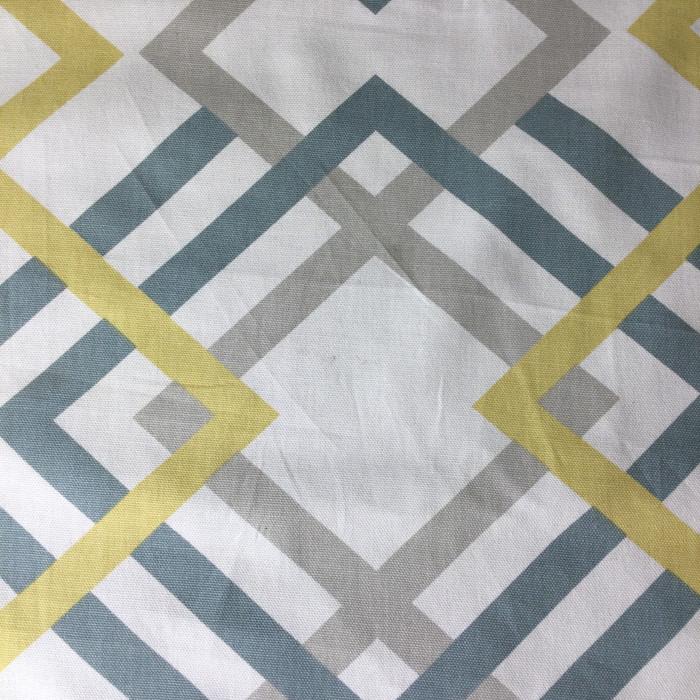 "4.67 Yard Piece of Home Decor Fabric | Lattice Blue-gray / Yellow / White | Upholstery / Drapery | 54"" Wide"