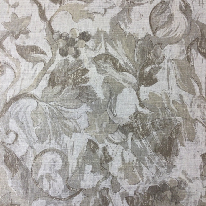"6.8 Yard Piece of Home Decor Fabric | Ivy Trail in Taupe | Upholstery / Drapery | 54"" Wide"