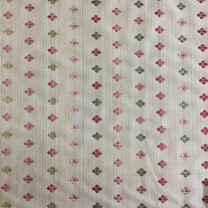 """3.8 Yard Piece of Upholstery Fabric   Floral Stripes Beige / Pink / Green   54"""" Wide"""