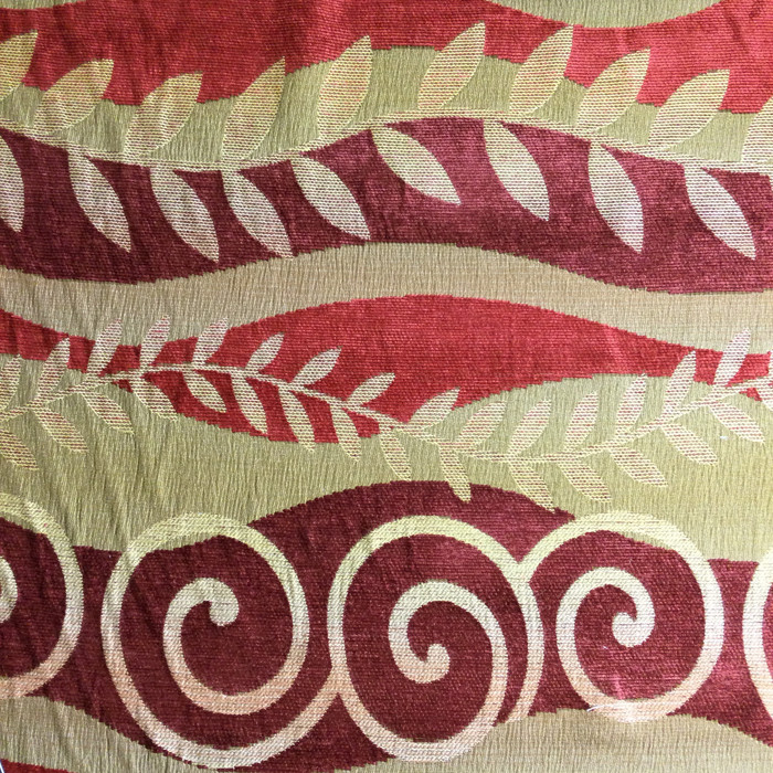 """4.8 Yard Piece of Upholstery Fabric   Contemporary Decorative Waves Red and Gold   54"""" Wide"""