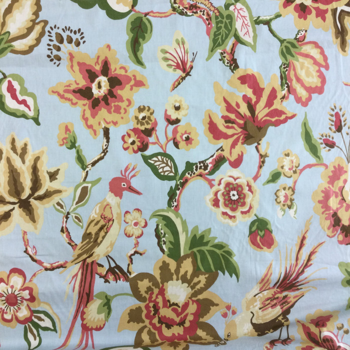 "7.8 Yard Piece of Home Decor Fabric | Floral with Birds Blue / Red / Yellow / Green | Upholstery / Drapery | 54"" Wide"