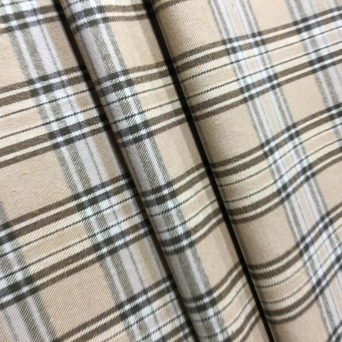 "3.05 Yard Piece of Drapery Fabric | Brown Plaid | 54"" Wide"