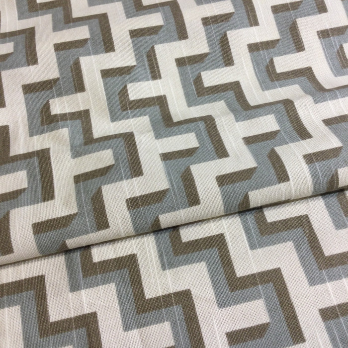 "HGTV Jigsaw Geometric Gray / Taupe / Off White | Home Decor Fabric | Upholstery / Drapery | 54"" Wide 