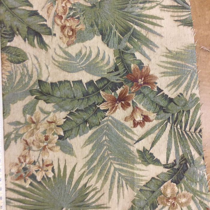 "Tropical Floral Green / Red / Beige | Upholstery Fabric | 54"" Wide 
