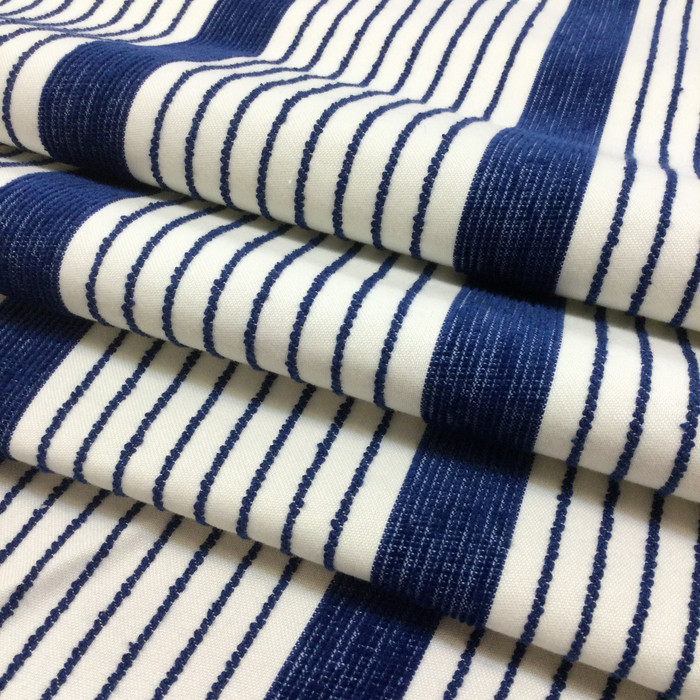 "Blue and White Stripes | Porter Stripe in Royale by BELLA-DURA | Latex Backed | Indoor / Outdoor Fabric | WATER RESISTANT | 54"" Wide 
