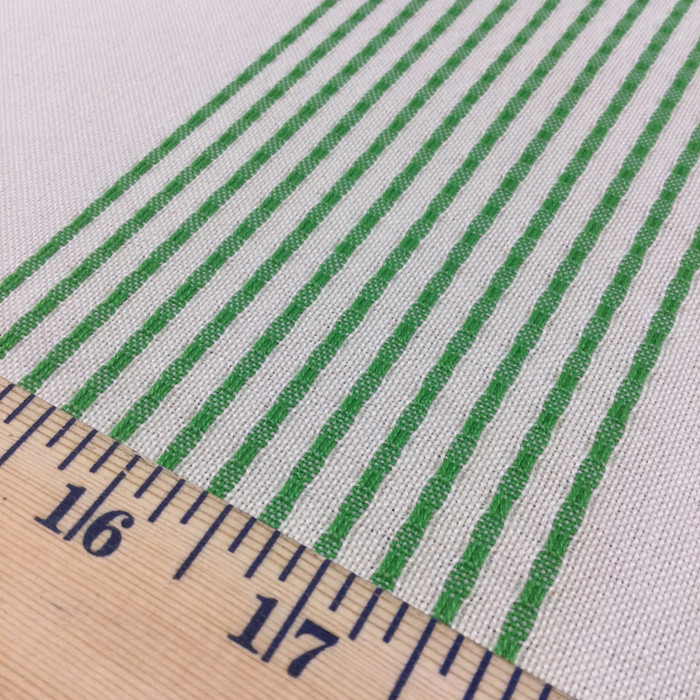 "Citron Green and Off White Stripes | Stitch Stripe in Macaw by BELLA-DURA | Indoor / Outdoor Fabric | WATER RESISTANT | 54"" Wide 