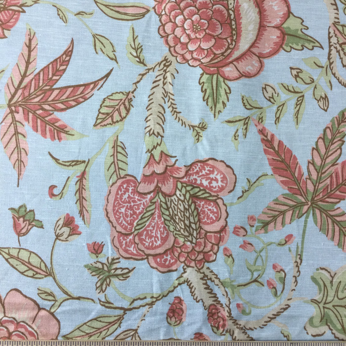 "2.8 Yard Piece of Home Decor Fabric | Floral Blue / Pink / Green | Upholstery / Drapery | 54"" Wide"