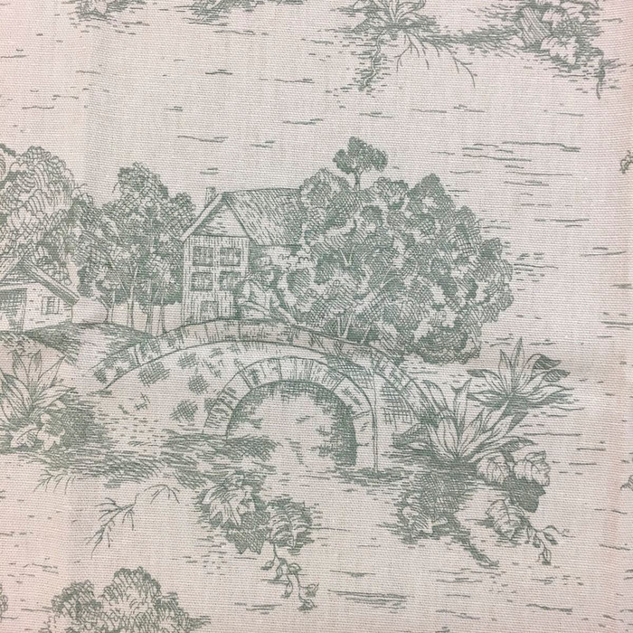 5 Yard Piece of Green Toile Fabric on Beige Drapery / Light Upholstery Fabric By The Yard
