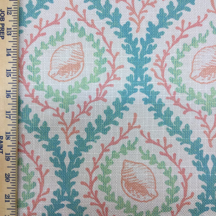 "Captiva Coral | Pink / Blue / Green | Upholstery Fabric | Regal Fabrics | 54"" Wide 