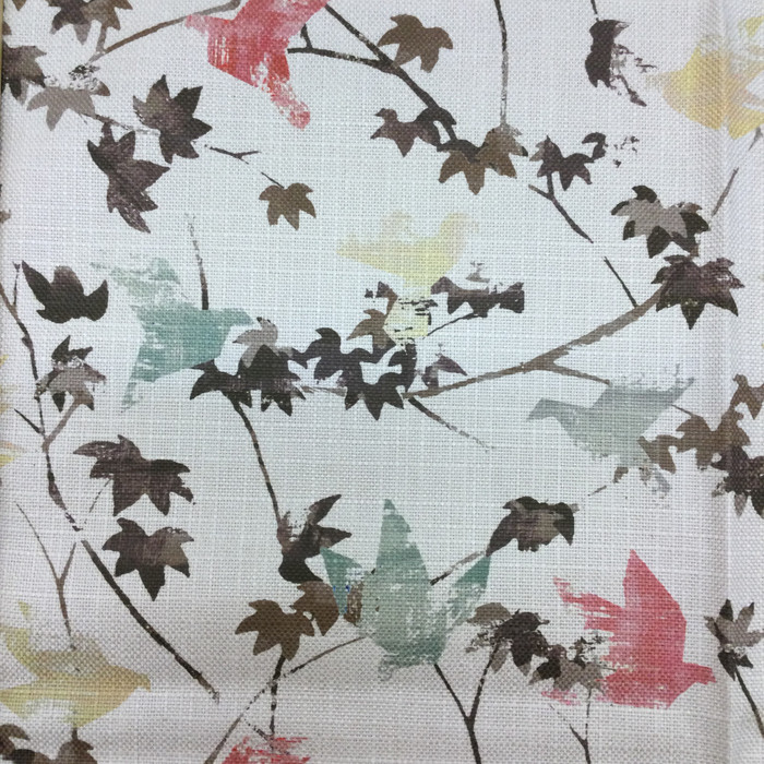 """Distressed Leaves Brown / Pink / Green on White 