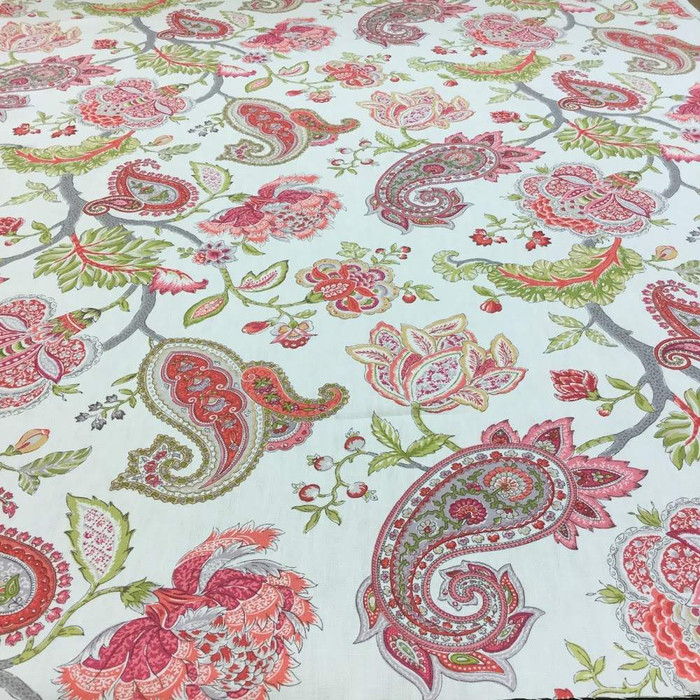 2.05 Yard Piece of Paisley Floral in Pink and Green Upholstery / Drapery Fabric | 54W | By the Yard | H1119-01-REM2-REM1 | H1119-01-REM2-REM1-REM1