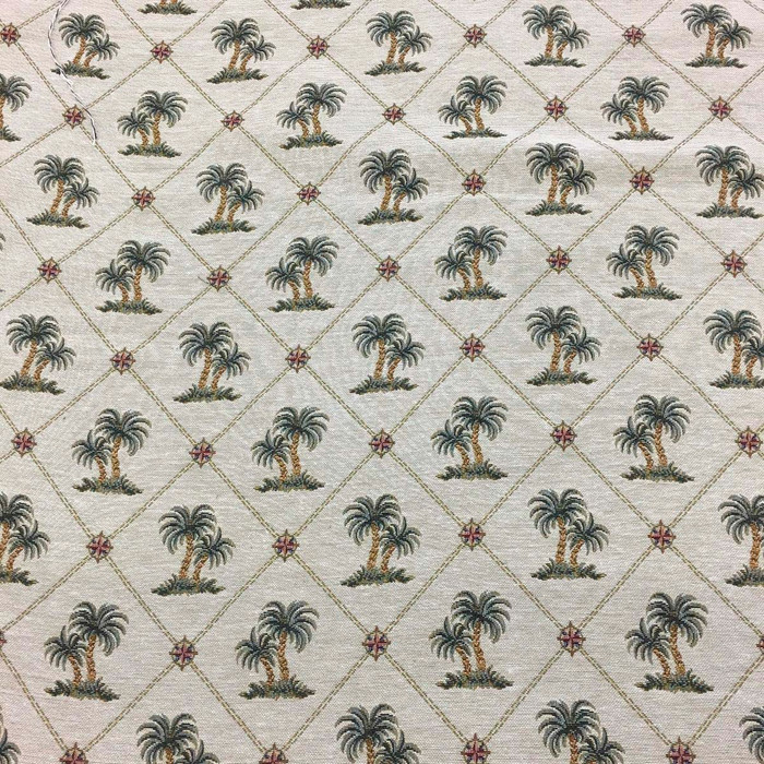 2 Yard Piece of Palm Trees In Diamond Lattice with Compass Detail | Tropical Drapery/Upholstery