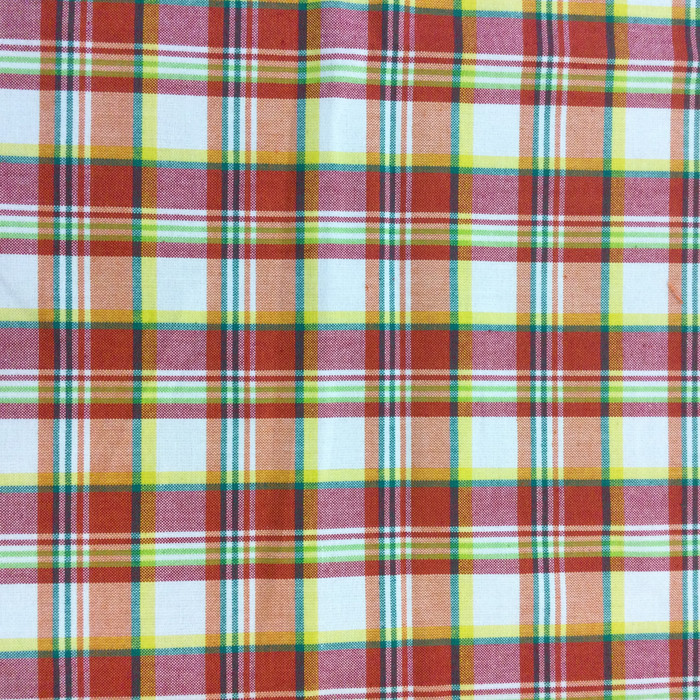 "Bright Plaid in Red / Orange / Green / Yellow | Drapery / Slipcover Fabric | 54"" Wide 
