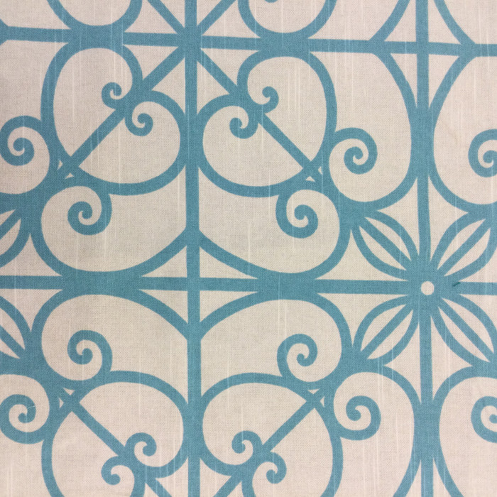 """Blue and Off White Scrollwork 