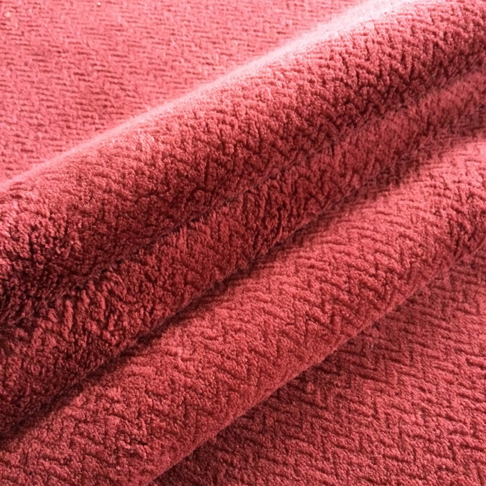 """Chevron in Burgundy Plush Chenille Heavy Upholstery Fabric 