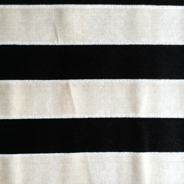 "Black and Beige Striped Velvet | Heavy Velvet Upholstery Fabric | 54"" Wide 