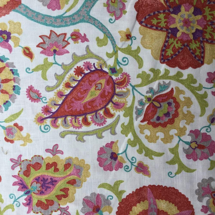 1 Yard Piece of Doodled Paisley with Medallions Upholstery Fabric | 54 Wide | BTY | Linen-like
