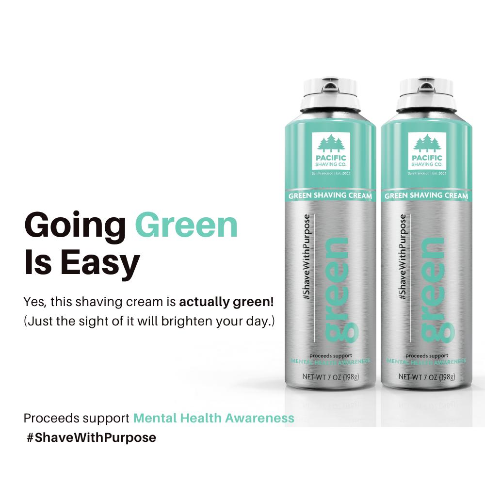 (2-PK) GREEN SHAVING CREAM | MENTAL HEALTH AWARENESS
