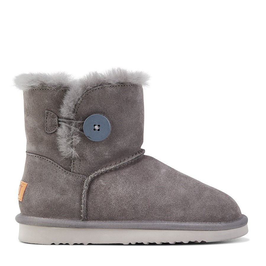 Shoewarehouse Button Ugg Dark Grey