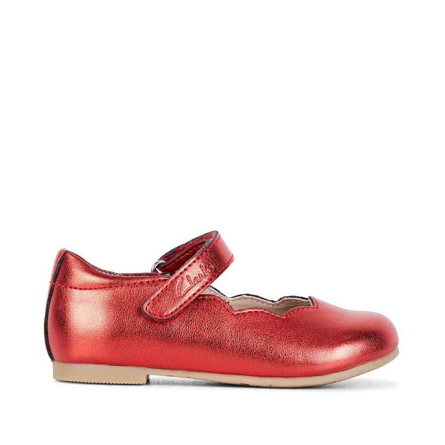 Shoewarehouse Audrey Jnr Red Metallic