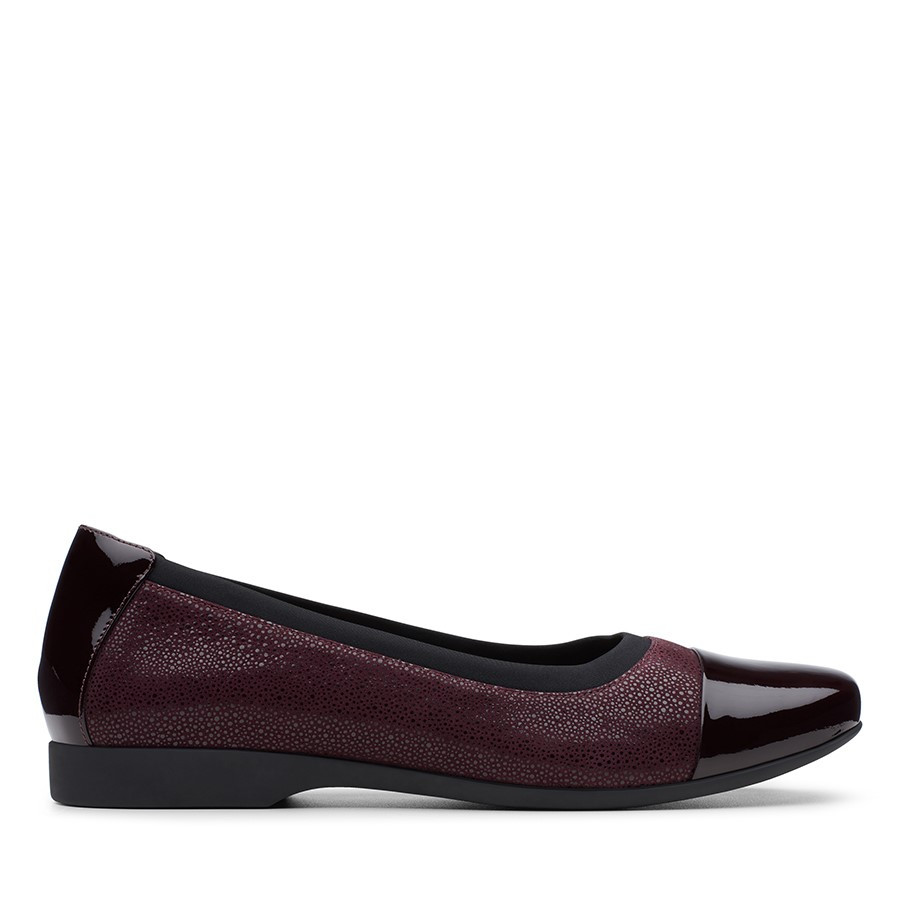 Shoe Warehouse Un Darcey Cap Aubergine Combo Leather