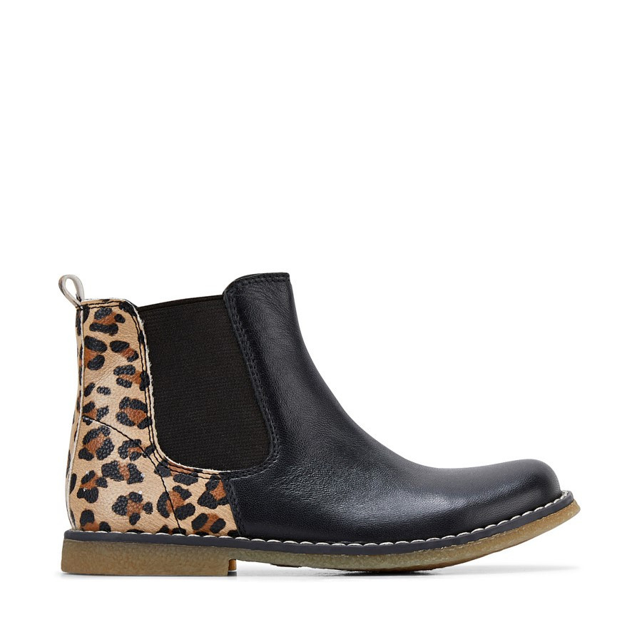Shoe Warehouse Chelsea Black Leopard