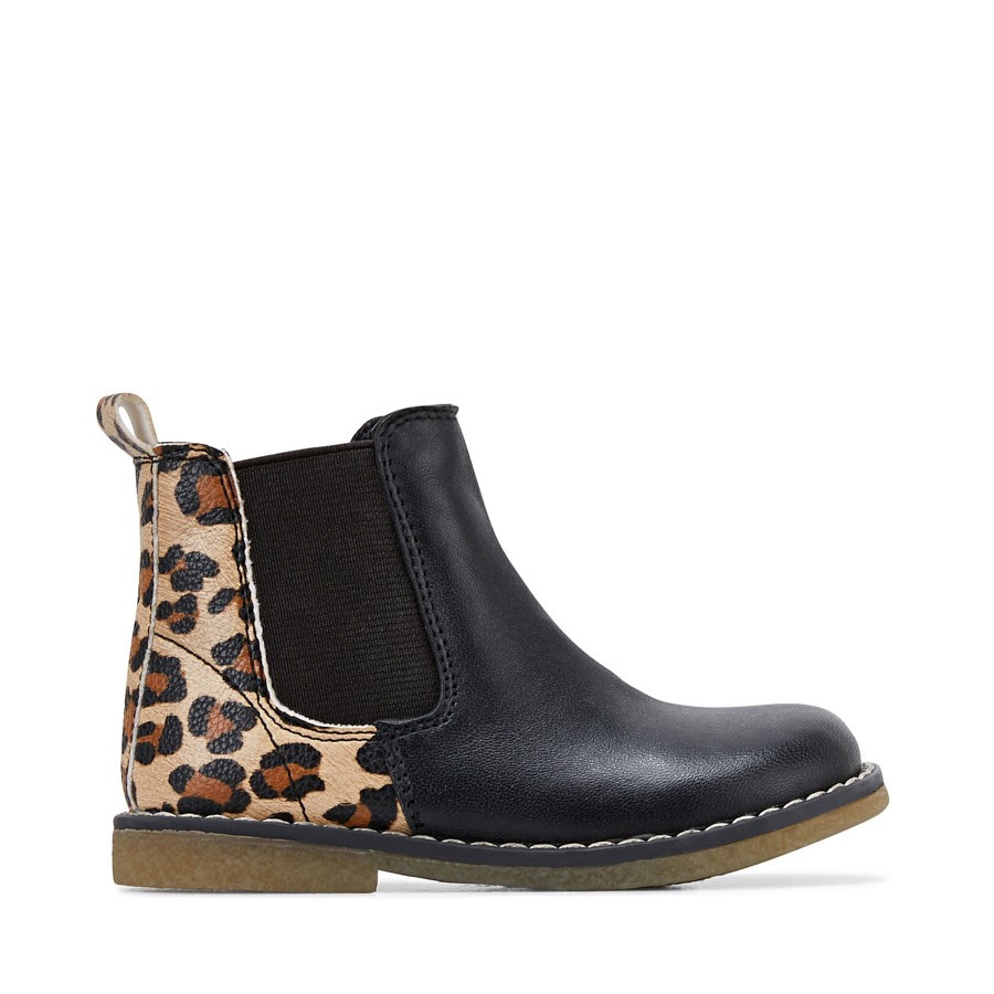 Shoe Warehouse Chelsea Inf Black Leopard