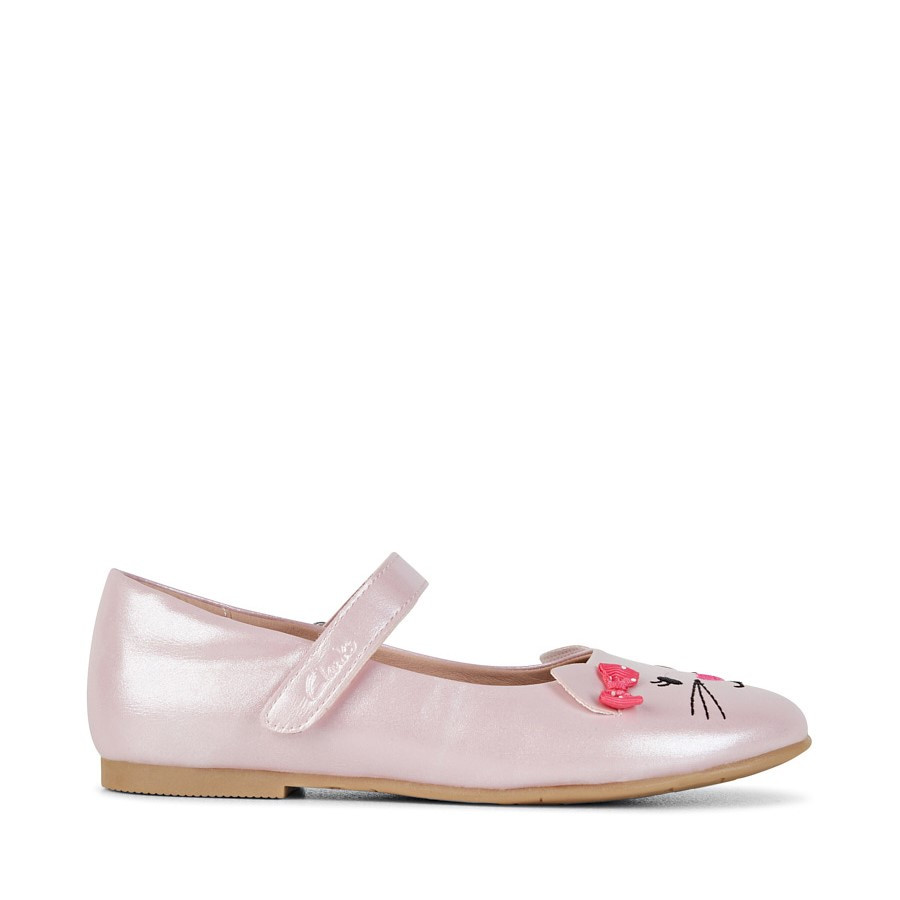 Shoe Warehouse Alice Snr Pale Pink Pearl/Pink Bow