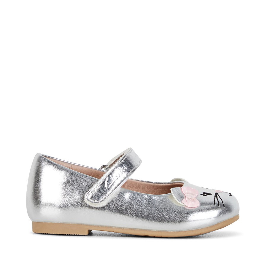 Shoewarehouse Alice Silver/Pink Bow