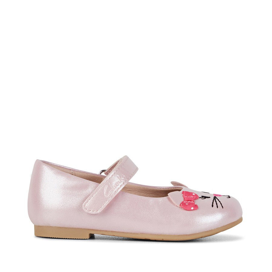 Shoe Warehouse Alice Pale Pink Pearl/Pink Bow