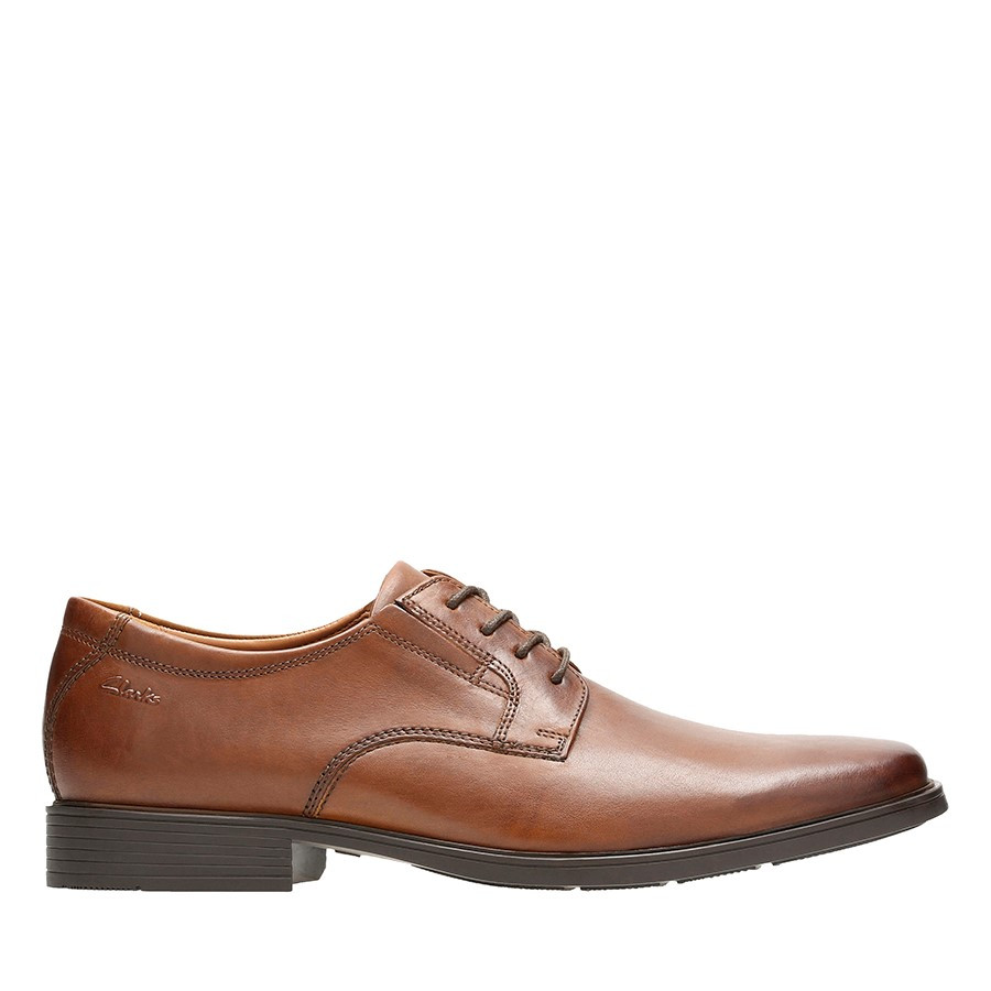Shoe Warehouse Tilden Plain Dark Tan Leather