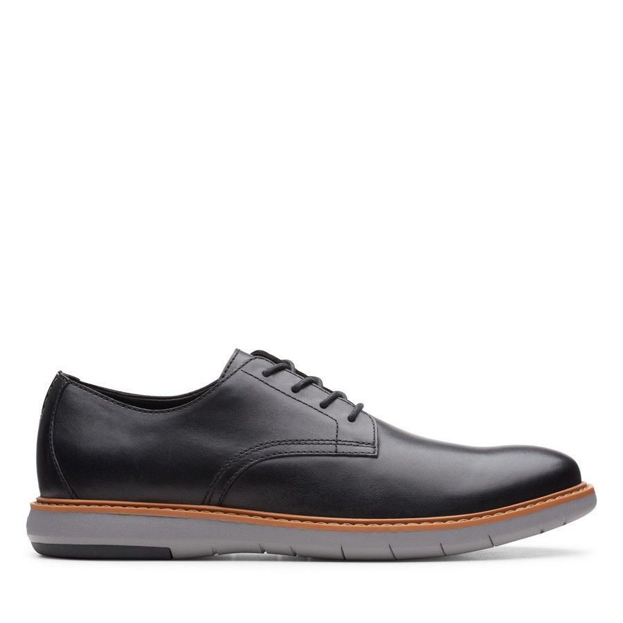 Shoe Warehouse Draper Lace Black Leather/Grey Sole