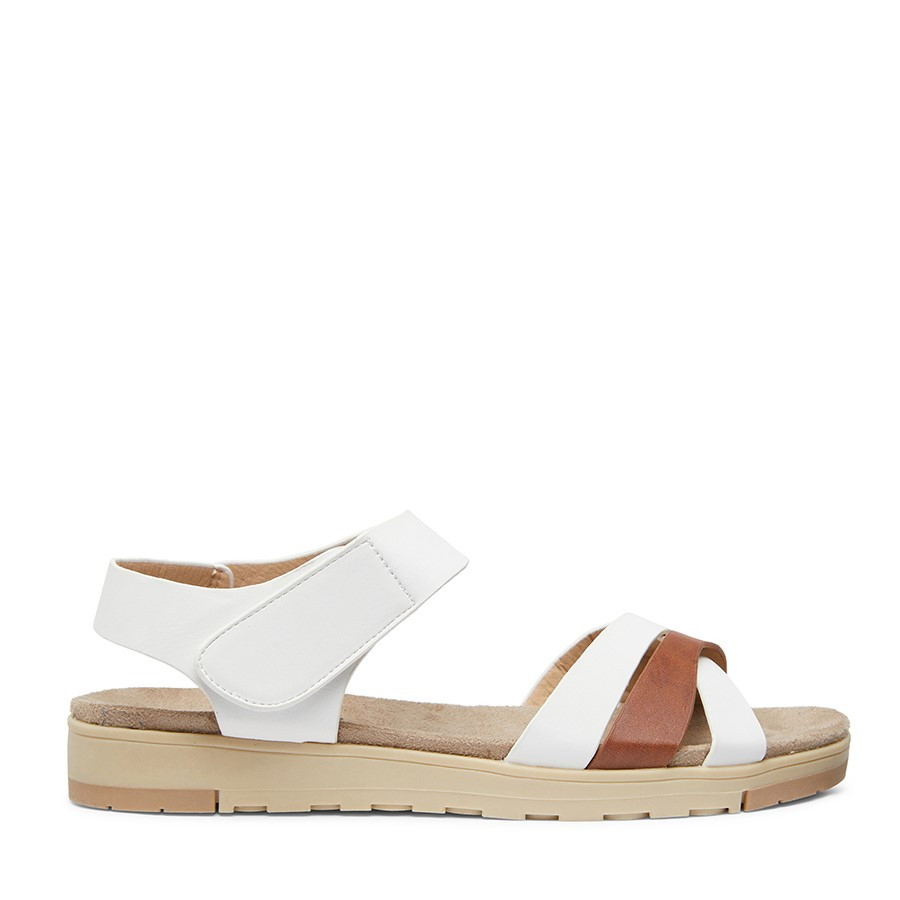 Shoewarehouse Zora White/Tan