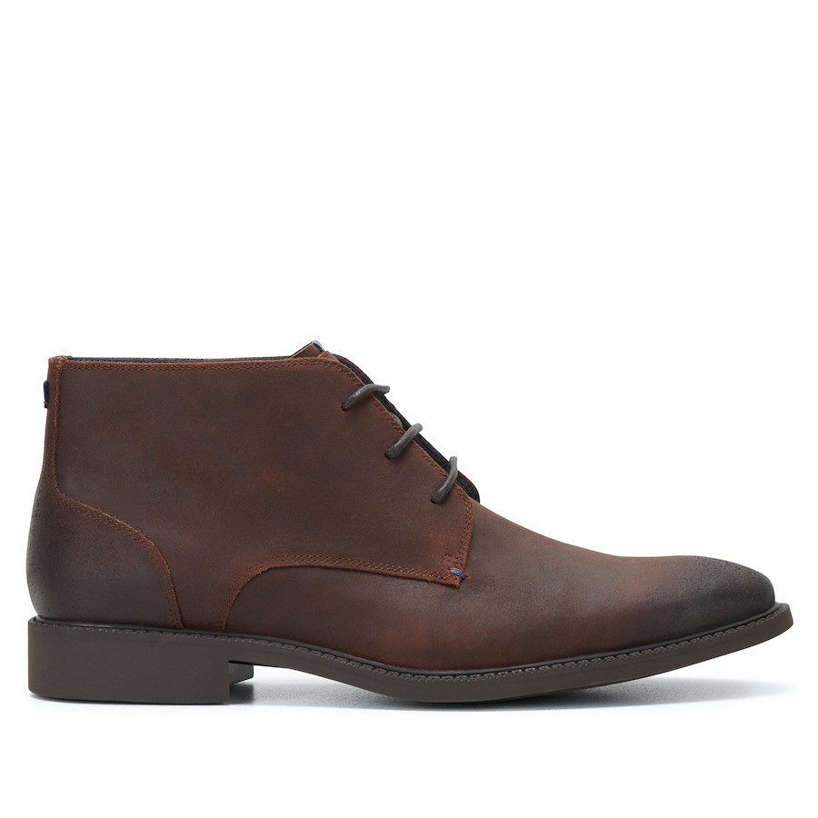 Shoewarehouse Harness Brown Waxed Suede