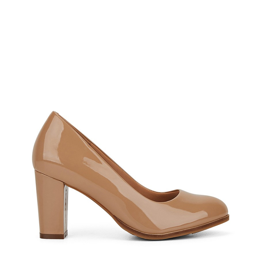 Shoewarehouse The Tall Pump Nude Patent