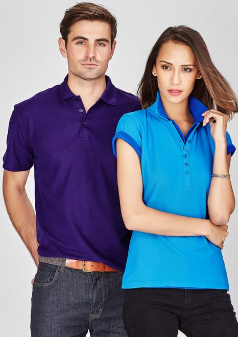 Polyester  Cotton Pique Men's Crew Polo T-shirt