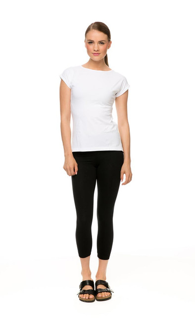 Knit Legging in black, with Knit Tee Classic in white