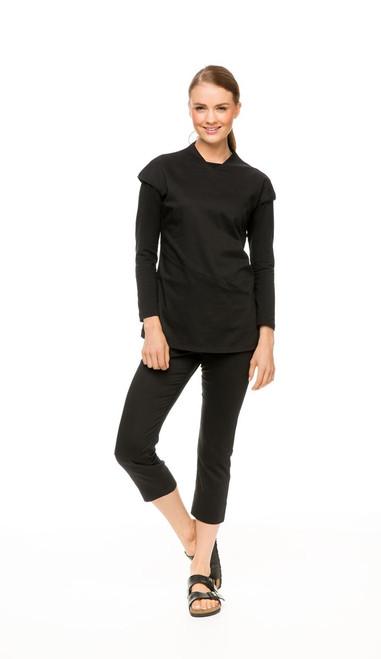 Winter Package: Black Asymmetric Tunic, Black Long Sleeve Boatneck Tee & Black Capri Pant