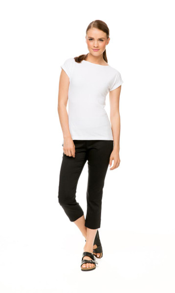 Capri Pant in black, with Knit Tee Classic in white