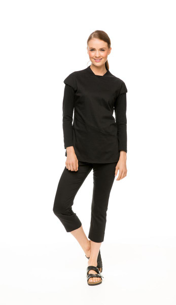 Winter Package: Black Asymmetric Tunic, Black Long Sleeve Boatneck Tee & Black Capri Pant