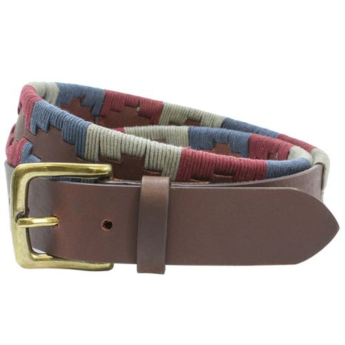 Sophos Leather Guatamalen Style Belt - Red/Navy/Natural