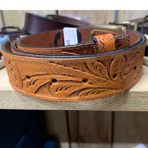 Leather Embossed Pattern Belt