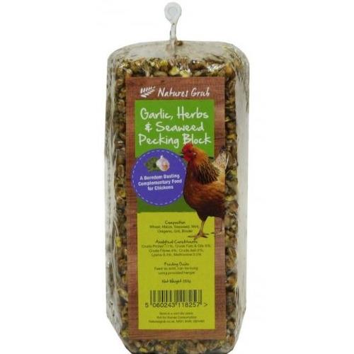 Natures Grub Garlic Herbs & Seaweed Pecking Block