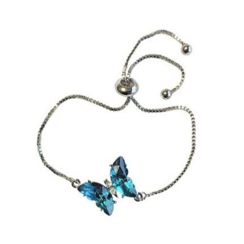 Indulgence Butterfly Teal Rhodium Bracelet