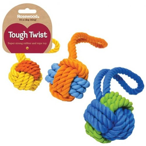 Rosewood Tough Twist Rubber & Rope Ball Tug