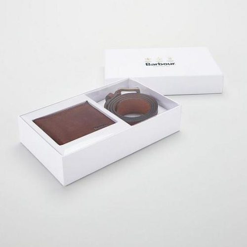 Barbour Leather Wallet/Belt Gift Set